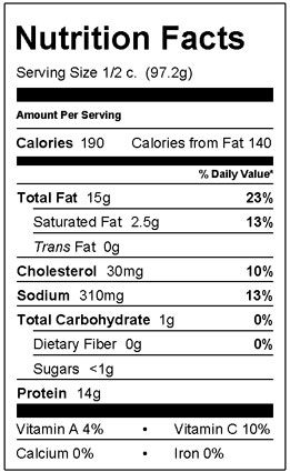 Albacore Tuna Salad Nutrition Facts