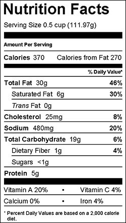 Bacon Ranch Pasta Nutrition Facts