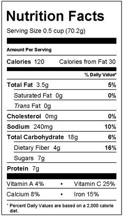 Balsamic Wheatberry Nutrition Facts