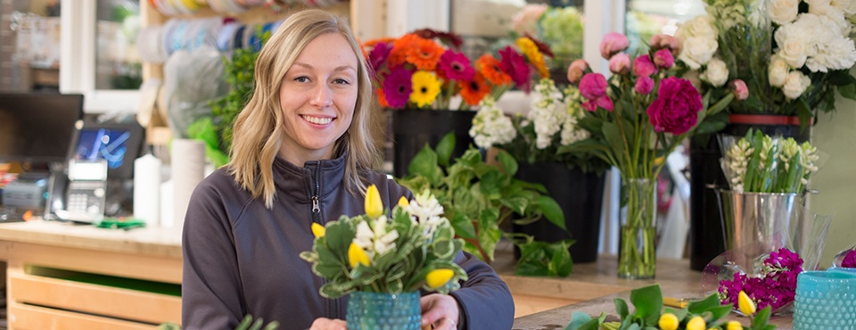 Sendik's Home Manager Chelsea Dorgan with Flowers