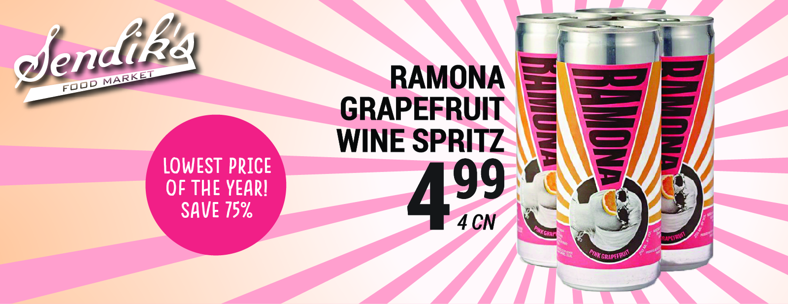 Ramona Grapefruit Wine Spritz $4.99 4 can