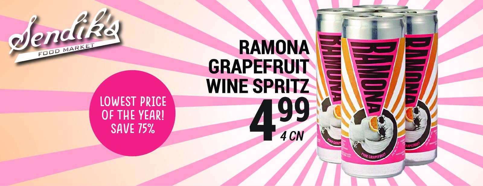 Ramona Grapefruit Wine Spritz $4.99 4 can
