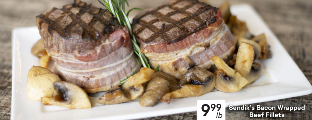 Sendik's Bacon Wrapped Beef Fillets $9.99 lb