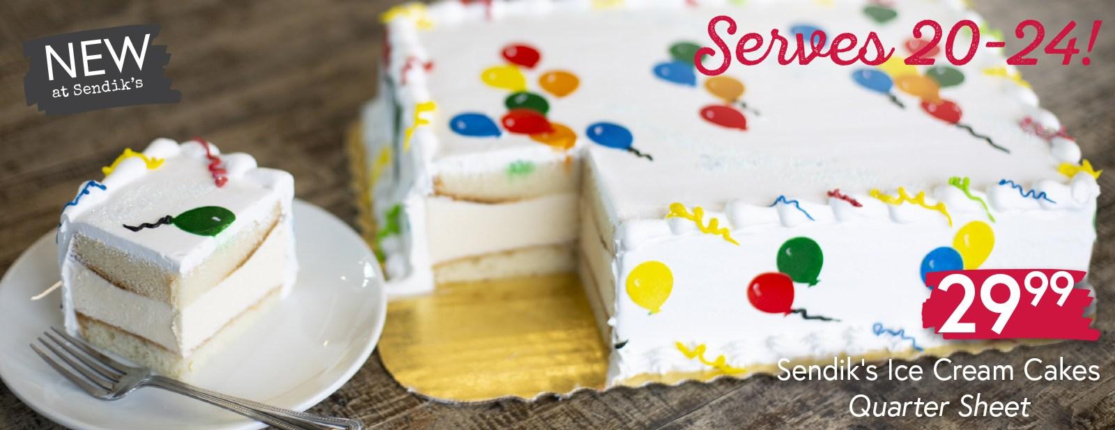Sendik's Ice Cream Cakes Quarter Sheet $29.99