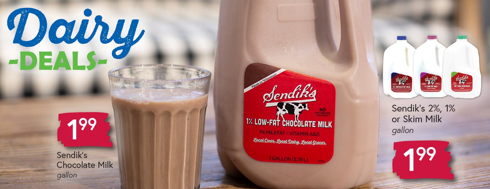 Sendik's 2%, 1% or Skim Milk $1.99 gallon