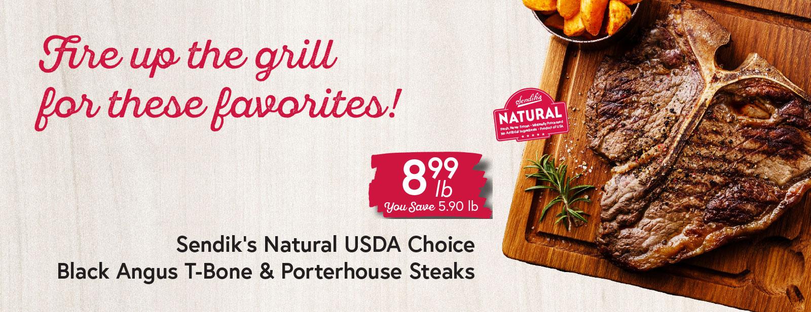 Sendik's Natural USDA Choice Black Angus T-Bone & Porterhouse Steaks