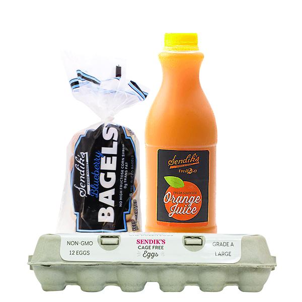 Sendik's Large Cage Free Eggs and Sendik's Bagels and Sendik's Fresh Squeezed Orange Juice